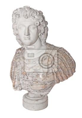 Plakat Starożytny posąg Aleksandra Wielkiego samodzielnie na białym tle