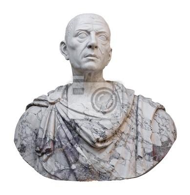 Plakat Starożytny posąg Juliusza Cezara samodzielnie na białym tle
