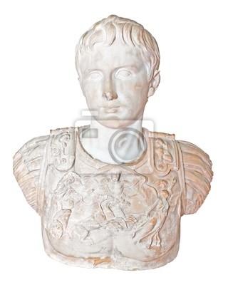 Plakat Starożytny posąg rzymskiego cesarza Augusta na białym