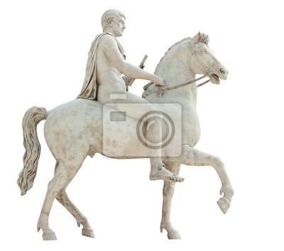 Plakat Starożytny rzymski posąg nagiej jeździec na białym