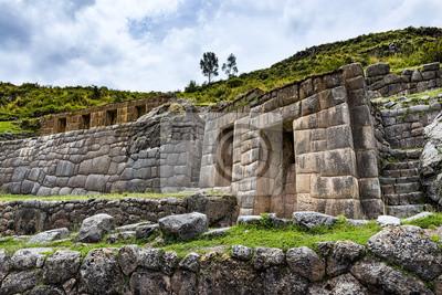 Plakat Starożytny ściany Inca w ruinach Tambomachay, w pobliżu Cuzco, Peru