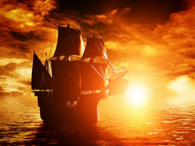 Plakat Starożytny statek piracki rejs na ocean na zachód słońca