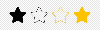Plakat Stars icons. Stars in linear flat design. Star vector icon black and yellow color, isolated. Vector illustration