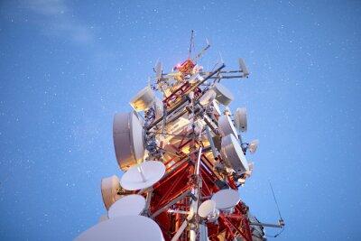 Plakat stars in night sky above radio tower