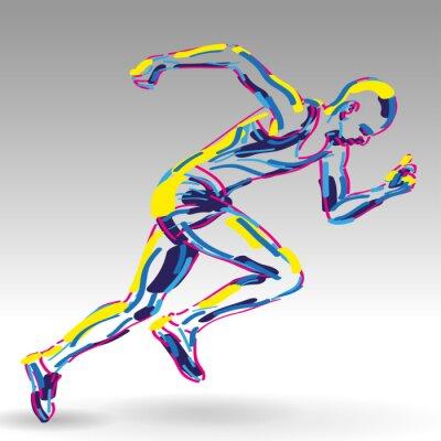 Plakat startujący biegacz WEKTOR