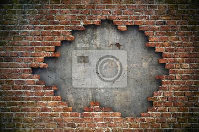 Plakat Stary czerwony ściana z cegieł uszkadzający tło