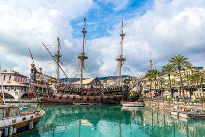 Plakat Stary drewniany statek w Genua, Włochy