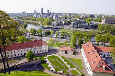 Plakat stary i nowy panorama Vilnius