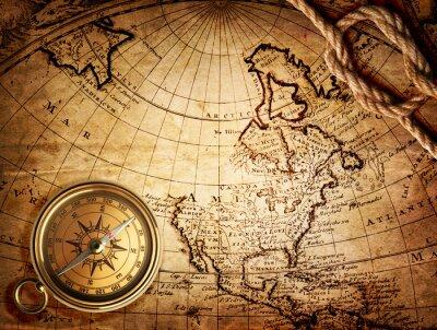 Plakat stary kompas i liny na mapie rocznika 1746