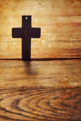 Plakat Stary krzyż na brązowego drewna