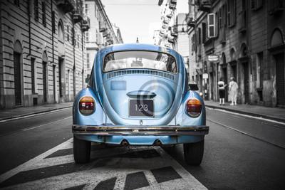 Plakat Stary niebieski samochód