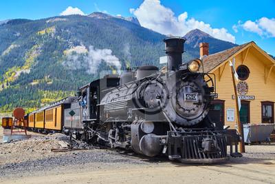 Plakat Stary pociąg 1800 węgiel zasilany w górach