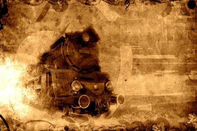 Plakat stary pociąg parowy sepia tło