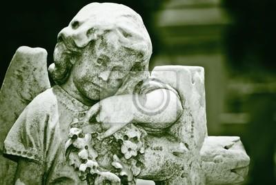 Plakat Stary pomnik anioła niemowląt w odcieniach zieleni