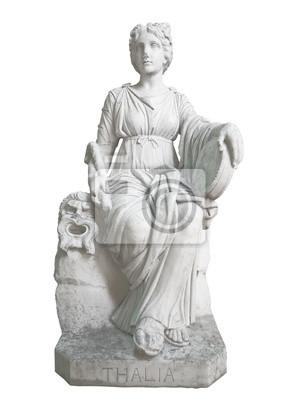 Plakat Stary pomnik greckiej muzy Thalia na białym