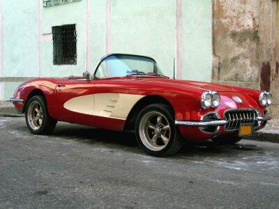 Plakat Stary samochód sportowy w Hawanie