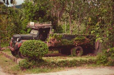 Plakat Stary samochód w górach