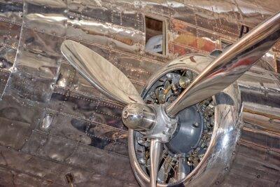 Plakat Stary samolot śmigłowy szczegółów żelaza