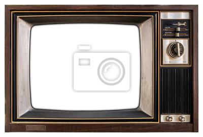 Plakat Stary telewizor z białym ekranem.
