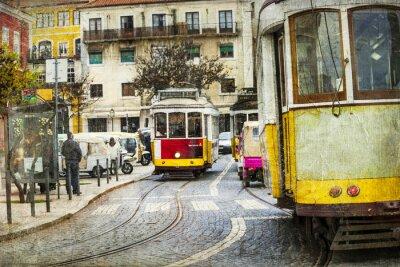 Plakat stary tramwaj w Lizbonie - Retro obraz