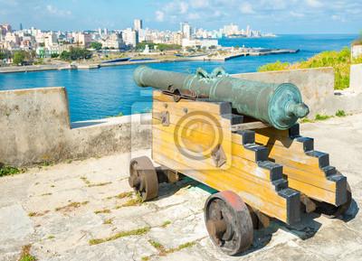 Plakat Starych kolonialnych hiszpanski armaty zmierzające do Hawany