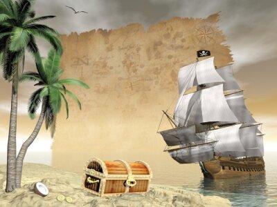 Plakat Statek piracki skarb znaleźć - 3D render