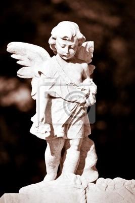 Plakat Statua niemowląt anioła w odcieniach sepii