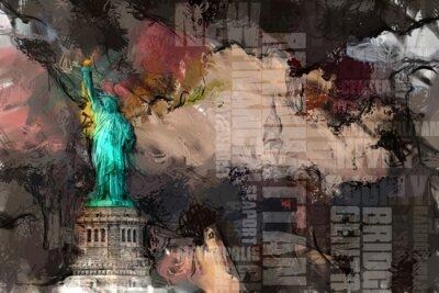 Plakat Statua Wolności i Nowym Jorku