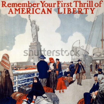 Plakat Statua Wolności. Plakat przedstawiający imigrantów na pokładzie statku, przepływających obok Statuy Wolności. kolorowa litografia, 1917