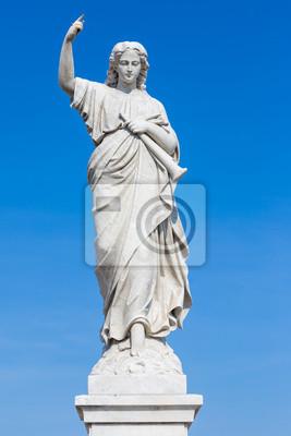 Plakat Statue of młoda kobieta podnosząc palec jako znak sądu
