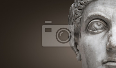 Plakat Statue of Roman Nobel Man, his face at closeup, isolated at smooth gradient background, Rome