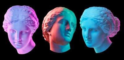 Plakat Statue of Venus de Milo. Creative concept colorful neon image with ancient greek sculpture Venus or Aphrodite head. Webpunk, vaporwave and surreal art style. Isolated on a black.