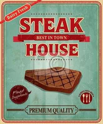 Steak house, vintage plakat projekt