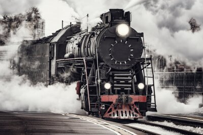 Plakat Steam train departs from Riga railway station. Moscow. Russia.