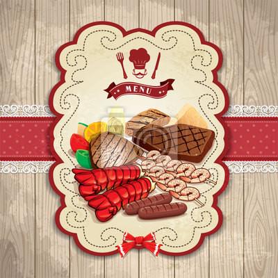 Plakat Stek z grilla w stylu vintage Krewetka etykiet robster szablon zestaw