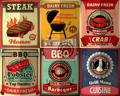 Stek z grilla w stylu vintage Plakat scenografia
