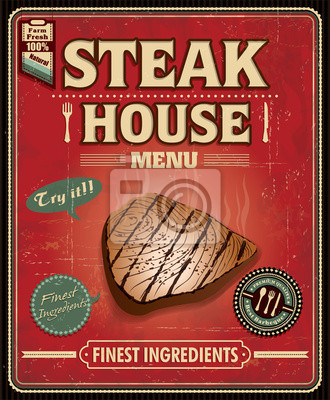 Plakat Stek z ryby vintage plakat projekt domu