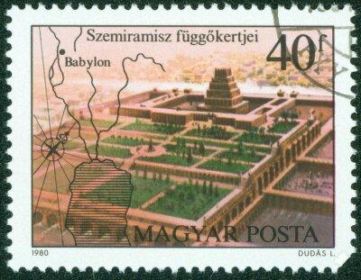 Plakat Stempel poświęcona przedstawia wiszące ogrody Semiramidy, Babilon