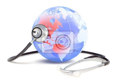 Plakat stetoskop, który monitoruje stan zdrowia Ameryki