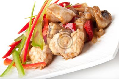 Stir fry z kurczaka z papryki i grzybów