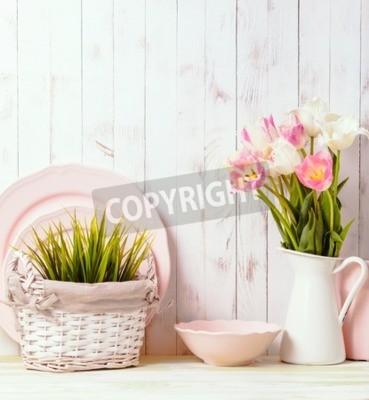 Plakat Stół kuchenny szczyt w rustykalnym stylu shabby chic, różowe dekoracje