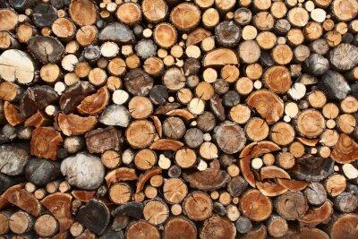 Plakat Stos drewna ognia ciętych