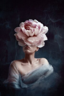 Plakat Strange fine art concept. The body of a woman, her head is a peony
