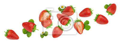 Plakat Strawberry isolated on white background with clipping path
