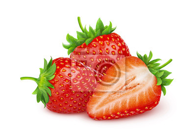 Plakat Strawberry isolated. Two and a half strawberries isolated on white background