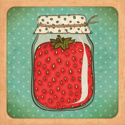 Plakat Strawberry jam. Vintage grunge tektury