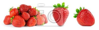 Plakat Strawberry on white background. Fresh sweet fruit closeup.