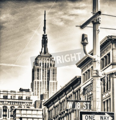 Plakat Street signs and buildings of New York.