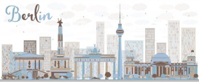 Plakat Streszczenie Berlin skyline z budynku barw.