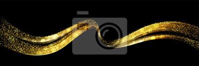 Plakat Streszczenie błyszczący kolor złota fala element projektu